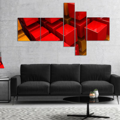 Designart Fractal 3D Red N Yellow Cubes MultipanelAbstract Canvas Art Print - 5 Panels