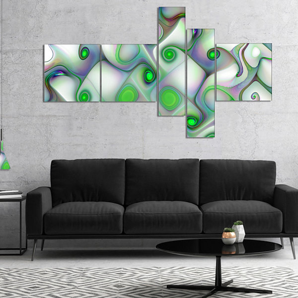 Designart White Green Pattern With Swirls Multipanel Abstract Wall Art Canvas - 5 Panels