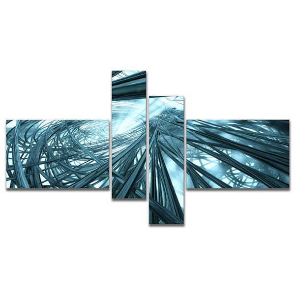 Designart Fractal 3D Stripes Everywhere MultipanelAbstract Canvas Art Print - 4 Panels