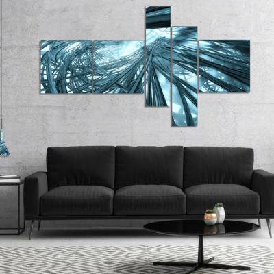 Designart Fractal 3D Stripes Everywhere MultipanelAbstract Canvas Art Print - 5 Panels