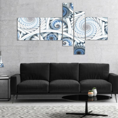 Designart White Spiral With Blue Fractal Art Multipanel Large Abstract Art - 5 Panels