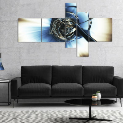 Designart Fractal 3D Tangle In Middle Multipanel Abstract Canvas Art Print - 5 Panels