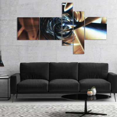 Designart Fractal 3D Tangled Center Multipanel Abstract Canvas Art Print - 4 Panels