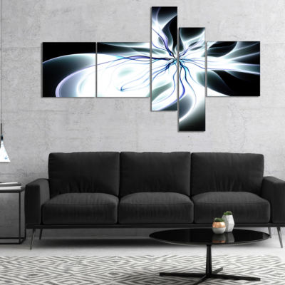 Designart White Symmetrical Fractal Flower Multipanel Abstract Art On Canvas - 5 Panels