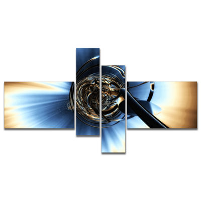 Designart Fractal 3D Tangled Knot Multipanel Abstract Canvas Art Print - 4 Panels