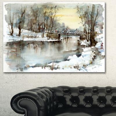 Designart White Bridge Over River Landscape Art Print Canvas