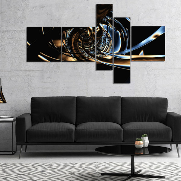 Designart Fractal 3D Tangled Stripes Multipanel Abstract Canvas Art Print - 4 Panels