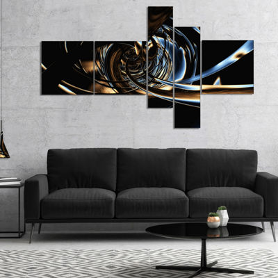 Designart Fractal 3D Tangled Stripes Multipanel Abstract Canvas Art Print - 5 Panels