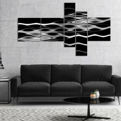 Designart White Waves Fractal Pattern Multipanel Abstract Wall Art Canvas - 5 Panels