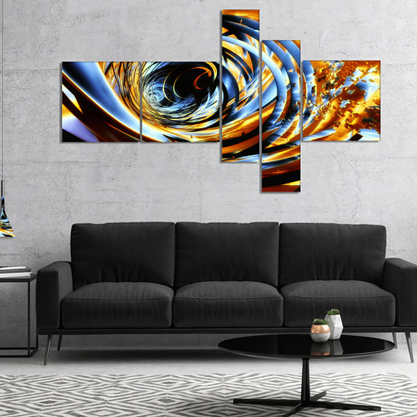 Designart Fractal 3D Whirlwind Stripes MultipanelAbstract Canvas Art Print - 4 Panels