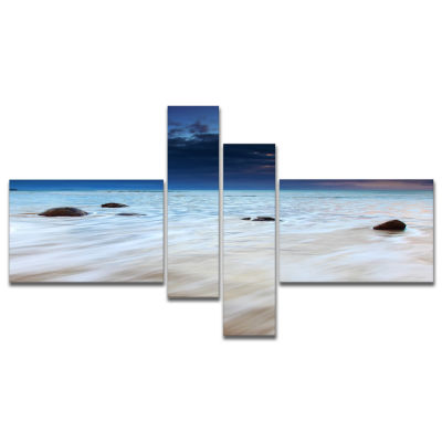 Designart White Waves Over Moeraki Boulders Multipanel Seashore Photo Canvas Print - 4 Panels