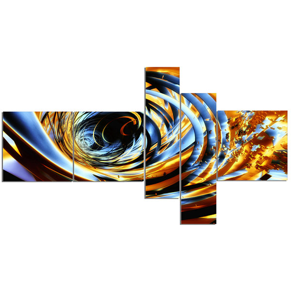 Designart Fractal 3D Whirlwind Stripes MultipanelAbstract Canvas Art Print - 5 Panels
