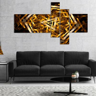 Designart Fractal 3D Yellowish Hexagon MultipanelAbstract Canvas Art Print - 5 Panels