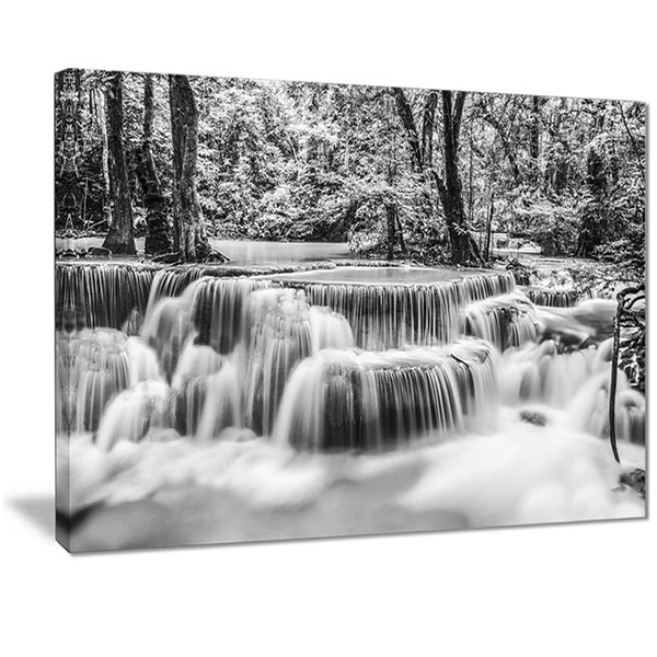 Designart White Erawan Waterfall Landscape Photography Canvas Print