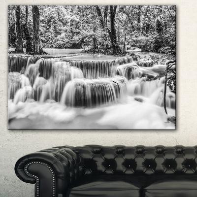 Designart White Erawan Waterfall Landscape Photography Canvas Print - 3 Panels