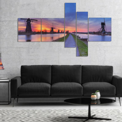 Designart Windmills Morning Panorama Multipanel Abstract Canvas Art Print - 5 Panels