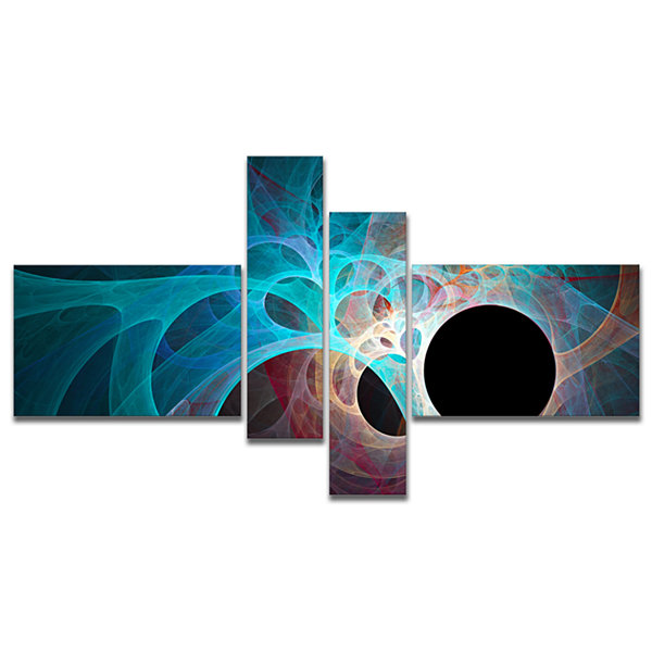 Designart Fractal Angel Wings In Blue Multipanel Abstract Wall Art Canvas - 4 Panels