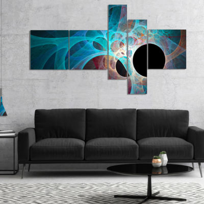 Designart Fractal Angel Wings In Blue Multipanel Abstract Wall Art Canvas - 5 Panels