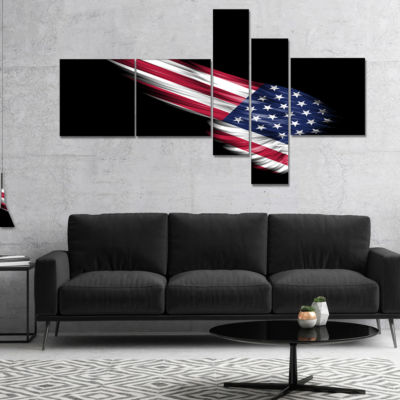Design Art Wing With American Flag Multipanel Abstract Print On Canvas - 5 Panels