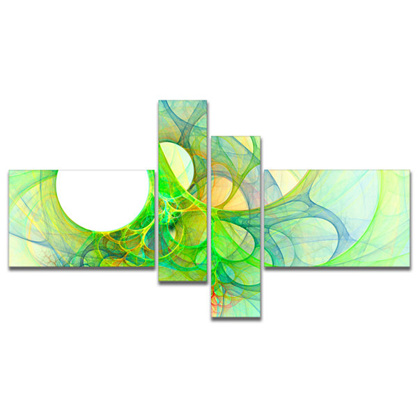 Designart Fractal Angel Wings In Green MultipanelAbstract Wall Art Canvas - 4 Panels