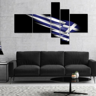 Designart Wing With Greece Flag Multipanel Abstract Print On Canvas - 4 Panels