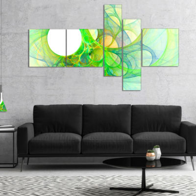 Designart Fractal Angel Wings In Green MultipanelAbstract Wall Art Canvas - 5 Panels