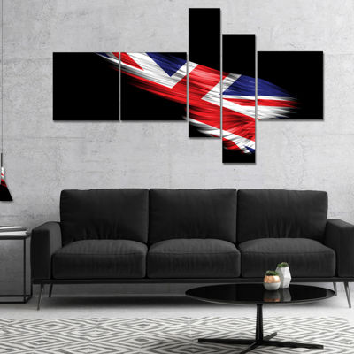 Designart Wing With United Kingdom Flag MultipanelAbstract Print On Canvas - 4 Panels