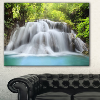 Designart White Huai Mae Kamin Waterfall AbstractCanvas Artwork - 3 Panels