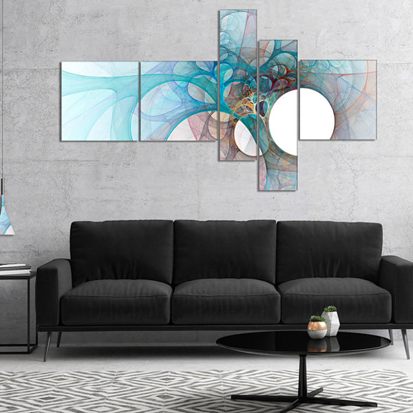 Designart Fractal Angel Wings In Light Blue Multipanel Abstract Wall Art Canvas - 5 Panels