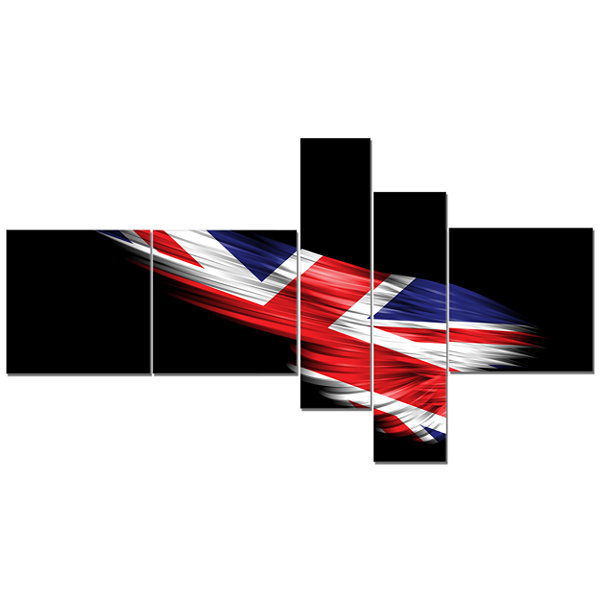 Designart Wing With United Kingdom Flag MultipanelAbstract Print On Canvas - 5 Panels