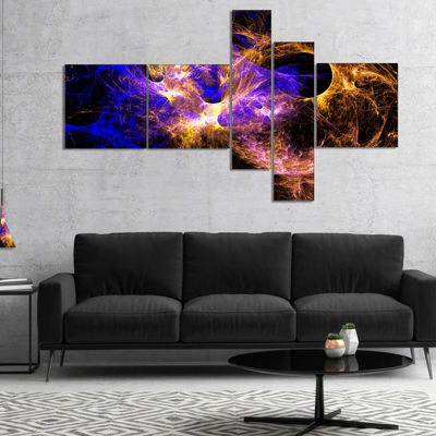 Designart Wings Of Angels Blue In Black MultipanelLarge Abstract Art - 4 Panels