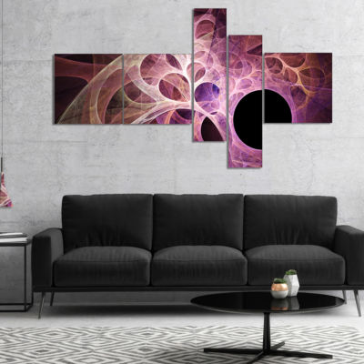 Designart Fractal Angel Wings In Pink Multipanel Abstract Wall Art Canvas - 5 Panels