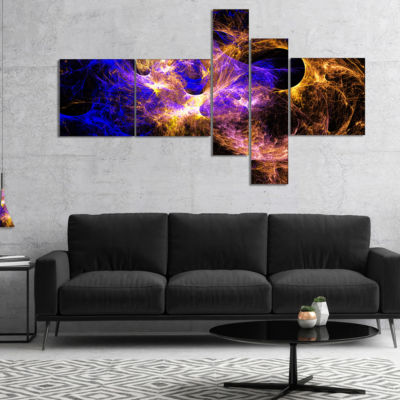 Designart Wings Of Angels Blue In Black MultipanelLarge Abstract Art - 5 Panels