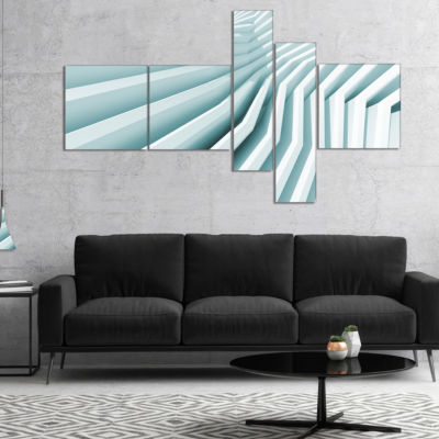 Designart Fractal Architecture 3D Waves MultipanelAbstract Canvas Art Print - 5 Panels