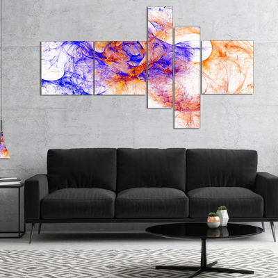 Designart Wings Of Angels Blue Multipanel AbstractCanvaS Art Print - 5 Panels
