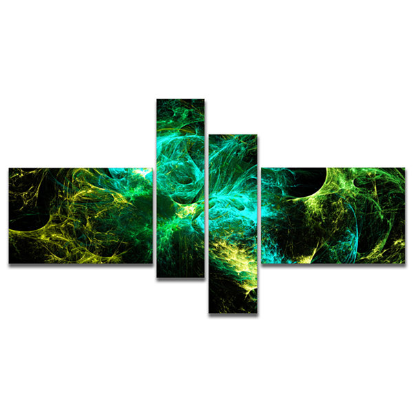 Designart Wings Of Angels Green In Black Multipanel Large Abstract Art - 4 Panels