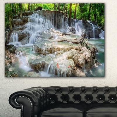 Designart White Huay Mae Kamin Waterfall LanscapePhotography Canvas Print - 3 Panels