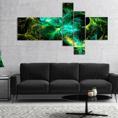 Designart Wings Of Angels Green In Black Multipanel Large Abstract Art - 5 Panels