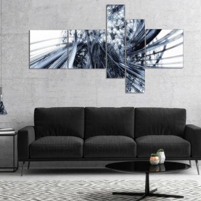 Designart Fractal Black N White Connected StripesMultipanel Canvas Art Print - 5 Panels