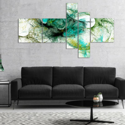 Designart Wings Of Angels Green Multipanel Abstract Canvas Art Print - 5 Panels