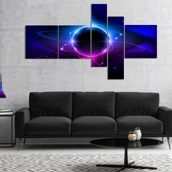 Designart Fractal Black Star Multipanel Abstract CanvaS Art Print - 4 Panels