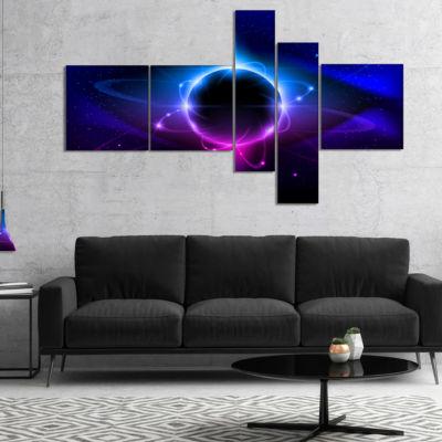 Designart Fractal Black Star Multipanel Abstract CanvaS Art Print - 5 Panels