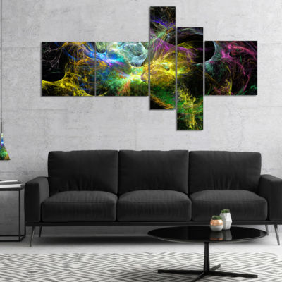 Design Art Wings Of Angels Yellow Multipanel Abstract Canvas Art Print - 5 Panels