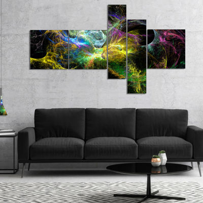 Designart Wings Of Angels Yellow Multipanel Abstract Canvas Art Print - 5 Panels
