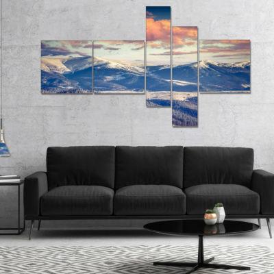 Designart Winter Alpine Sunset Over Hills Multipanel Landscape Canvas Art Print - 5 Panels
