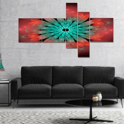 Designart Fractal Blooming Blue Red Flower Multipanel Floral Art Canvas Print - 5 Panels