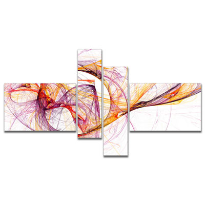 Designart Wisps Of Smoke Orange Purple MultipanelAbstract Canvas Art Print - 4 Panels
