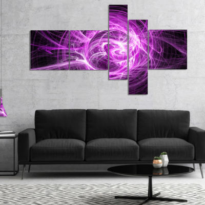 Designart Wisps Of Smoke Purple In Black Multipanel Abstract Canvas Art Print - 5 Panels