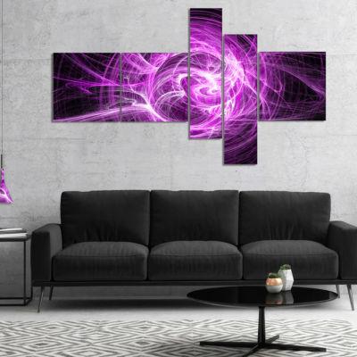 Designart Wisps Of Smoke Purple In Black Multipanel Abstract Canvas Art Print - 5 Panels
