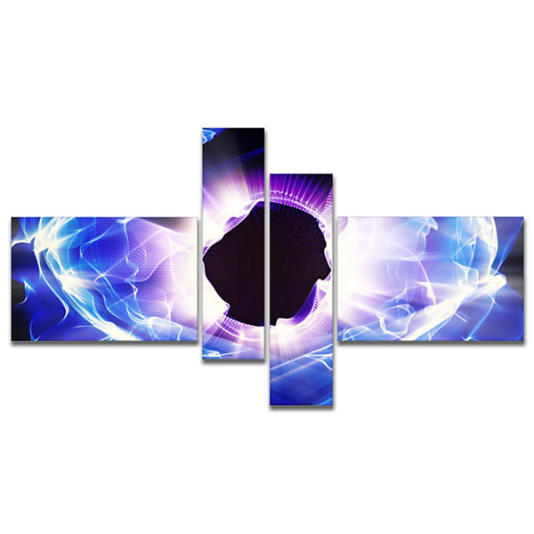 Designart Fractal Blue Light Shine Multipanel Abstract Canvas Art Print - 4 Panels